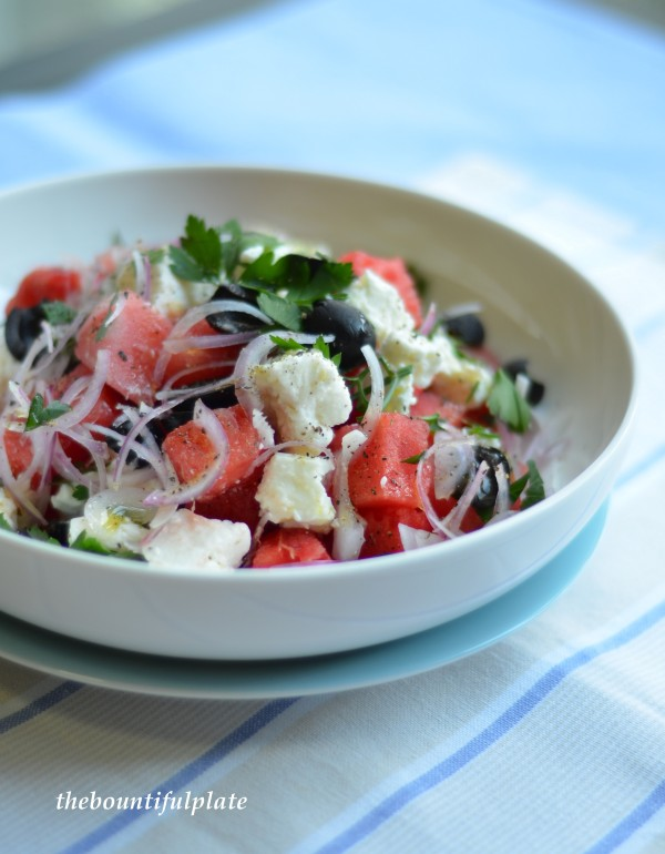 Watermelon, feta, olive salad
